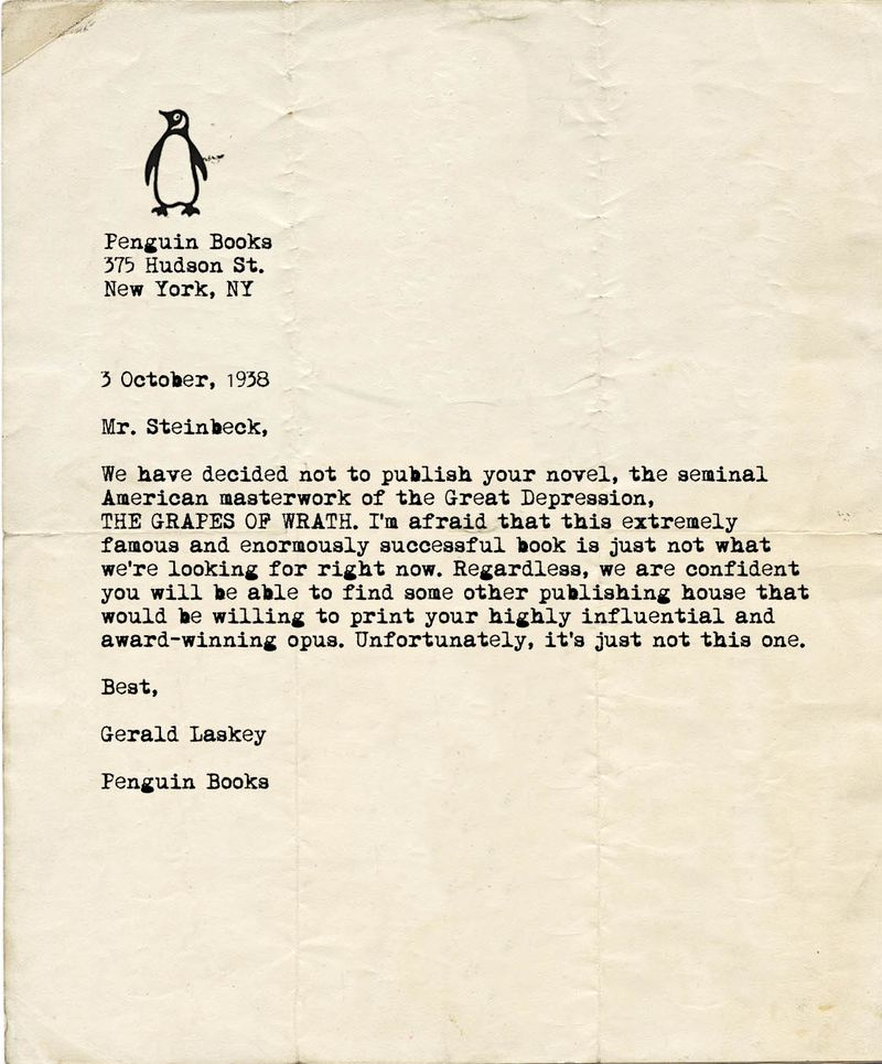 Famous Literary Rejection Letters Examples From The Biggest - 8 rejection letters famous people prove never give